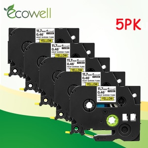 Ecowell 5pcs 12mm Heat Shrink Tube Label HSe-631 HSe 631 HSe631 Black on Yellow 1.5m tze label tape for Brother p touch printer