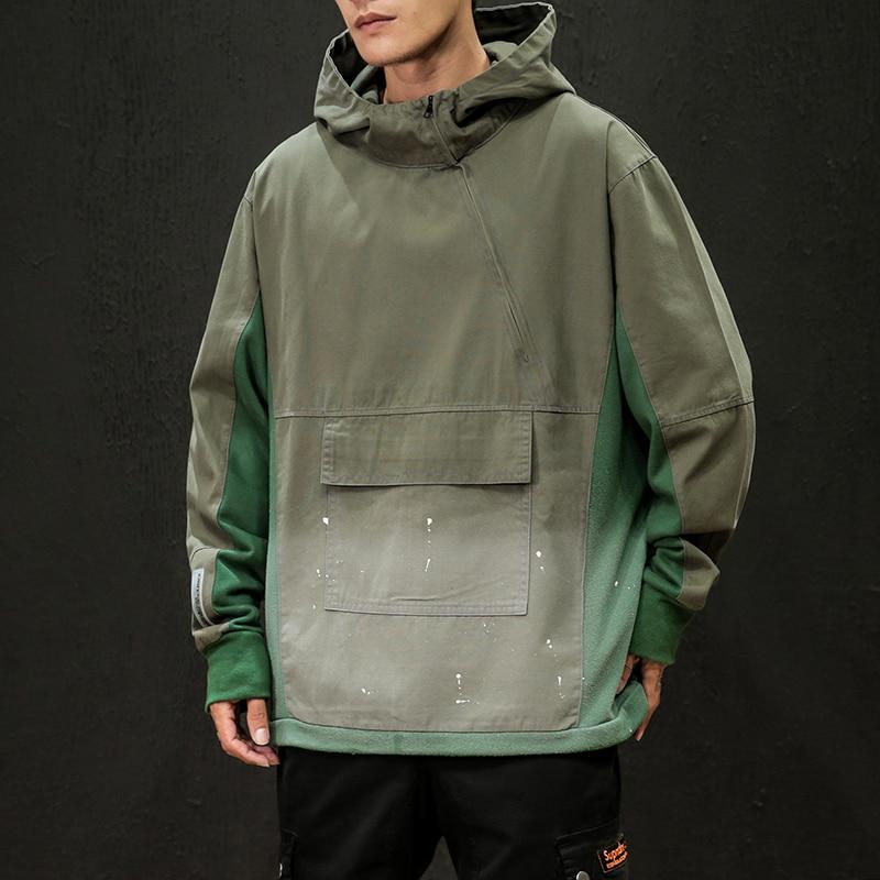 Осенняя мужская куртка с капюшоном в стиле хип-хоп, мужская куртка с капюшоном, мужские толстовки, пальто 2021, Мужская черная уличная одежда с...