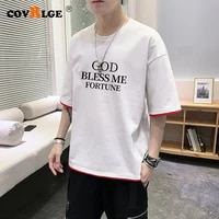 covrlge mens cotton t shirt word printing summer fabric mens basic top fashion loose style t shirt 12 color streetwear mts549