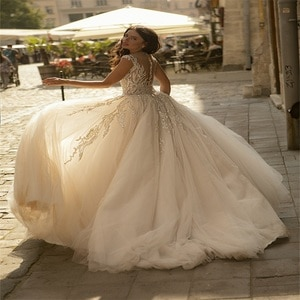 Glitter Sequins Beads A Line Wedding Dresses Appliqued Robes De Mariée Beach Boho Custom Made Ruched Tulle Bridal Gown