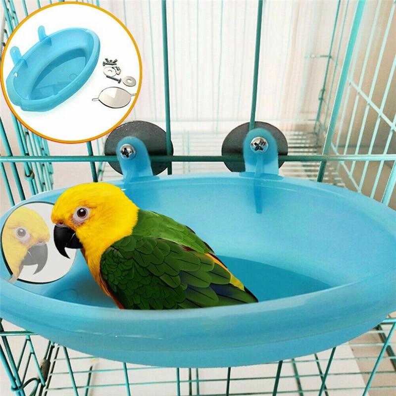 Pájaro agua bañera con espejo para mascotas jaula de pájaros Bol colgante loro Perico Baño de pájaros