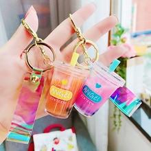 1 Pcs Creative Mini Soft Drink Bottle Keychain Milk Tea Beverage Bottle Acrylic Liquid Keychain Pendant Jewelry Gift