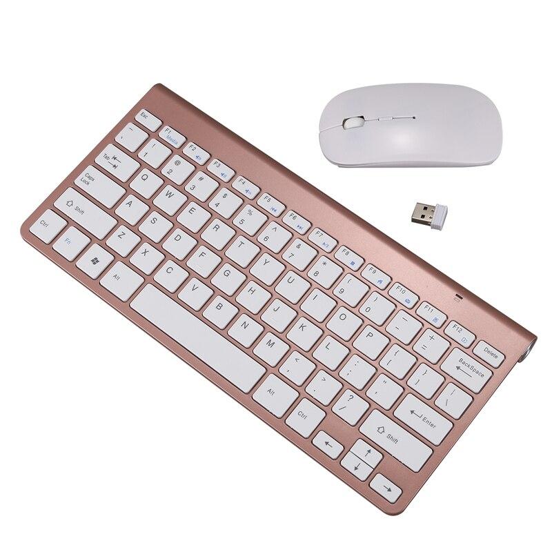 Conjunto de teclado y ratón inalámbricos ultrafino de 2,4 Ghz con receptor USB, conjunto de teclado de ratón para PC Windows XP/7/8/10 (oro rosa)