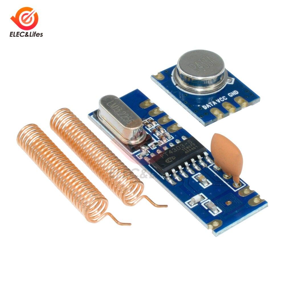 433MHz 100m ASK Kit de módulo inalámbrico ASK transmisor STX882 + ASK receptor SRX882 + 2 uds Antena de resorte de cobre