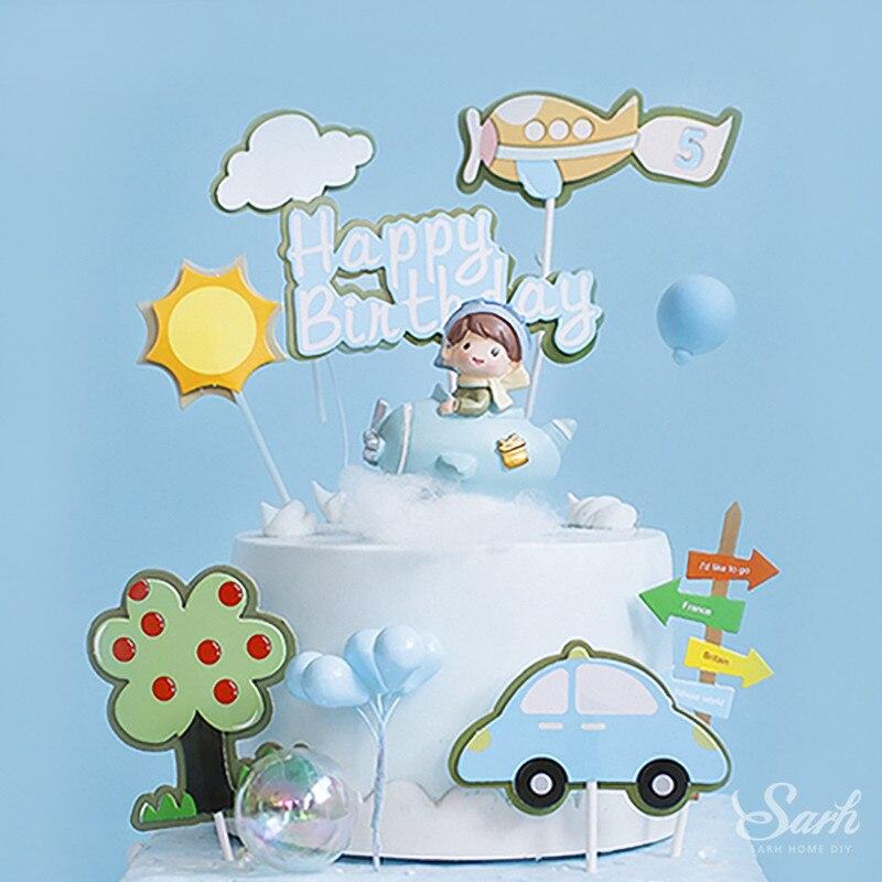 Fighter Pilot Topper para tarta de feliz cumpleaños molinillo de arcoíris decoración de fiesta de boda para hornear Suplies regalo de amor