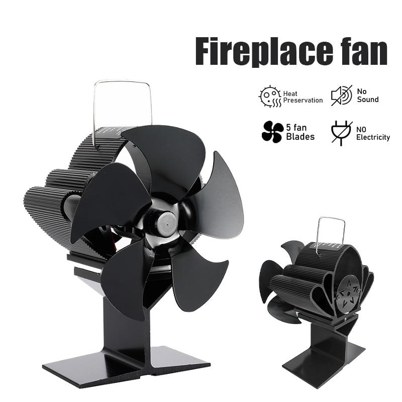 موقد أسود 5 شفرات تعمل بالطاقة الحرارية موقد مروحة سجل الخشب الموقد ايكو مروحة هادئة المنزل الموقد مروحة كفاءة توزيع الحرارة