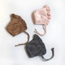 Solid Princess Caps Cute Baby Girls Bonnet Pography Prop Autumn Winter Kids Wool Cap 0-9Months Newborn Infant Corduroy Hats
