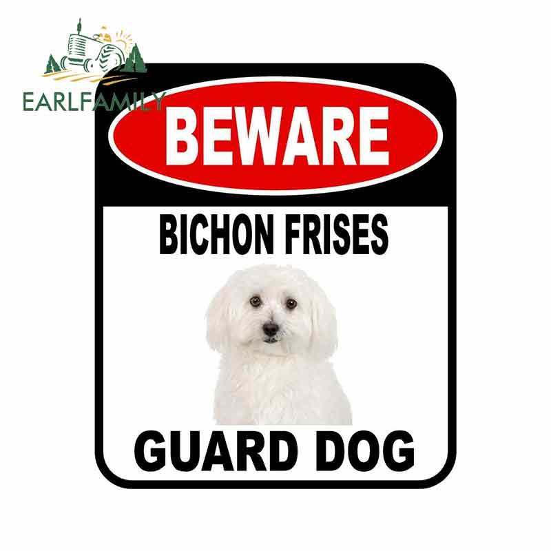 EARLFAMILY, 13cm x 11cm, BEWARE Bichón FRISES GUARD, pegatina de perro para coche, cubierta de arañazos, signo compuesto, pegatina para perro mascota