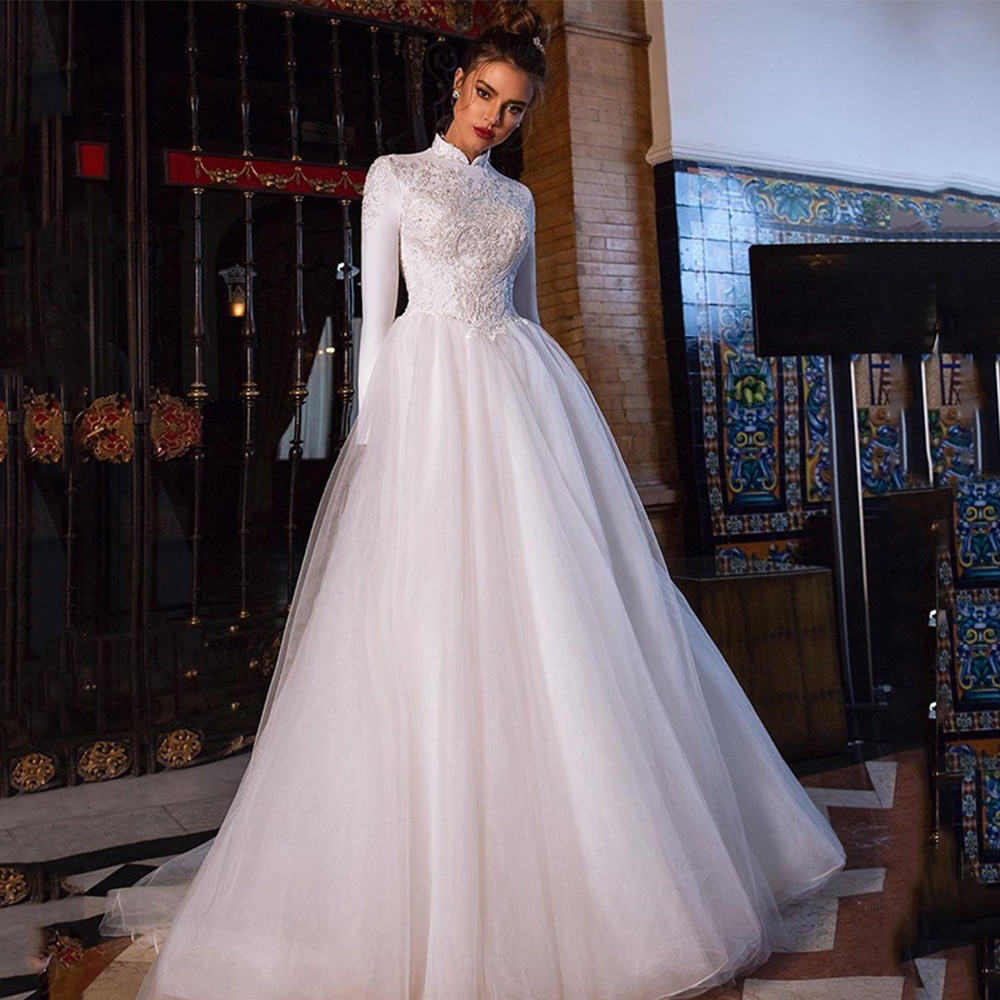 Review High Neck A-Line Tulle Wedding Dress Long Sleeve Lace Appliques Zipper Back Sweep Train Bridal Gowns 2021 Vestido De Noiva