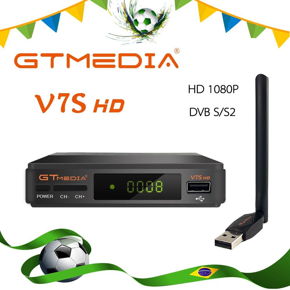 DVB-S2 caliente Freesat V7 hd con WIFI USB FTA receptor de TV gtmedia v7s hd potencia por freesat soporte red Sharing Ship de Brasil