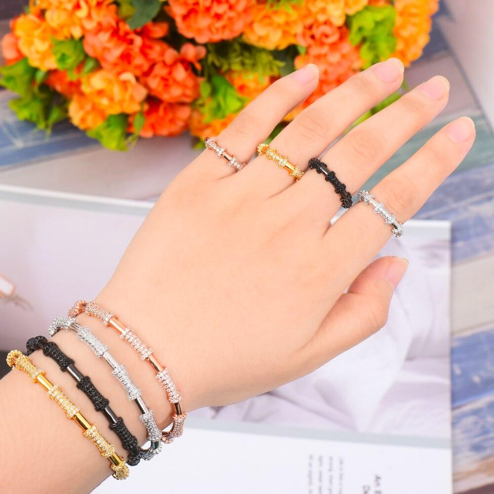GODKI Bamboo knot Luxury Sparkling Full AAA Cubic Zirconia Geometry Design Women Bracelet Bangle And Ring Set Jewelry Sets