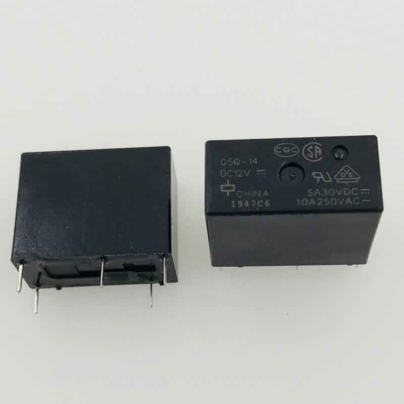 New 10pcs/lot Relay G5Q-14-DC12V G5Q-14-12VDC G5Q-14-12V  G5Q-14  12VDC 10A 5PIN