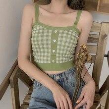 Femmes Sexy fond haut court rétro doux motif à carreaux tricot populaire Camisole coton mince Sexy hauts