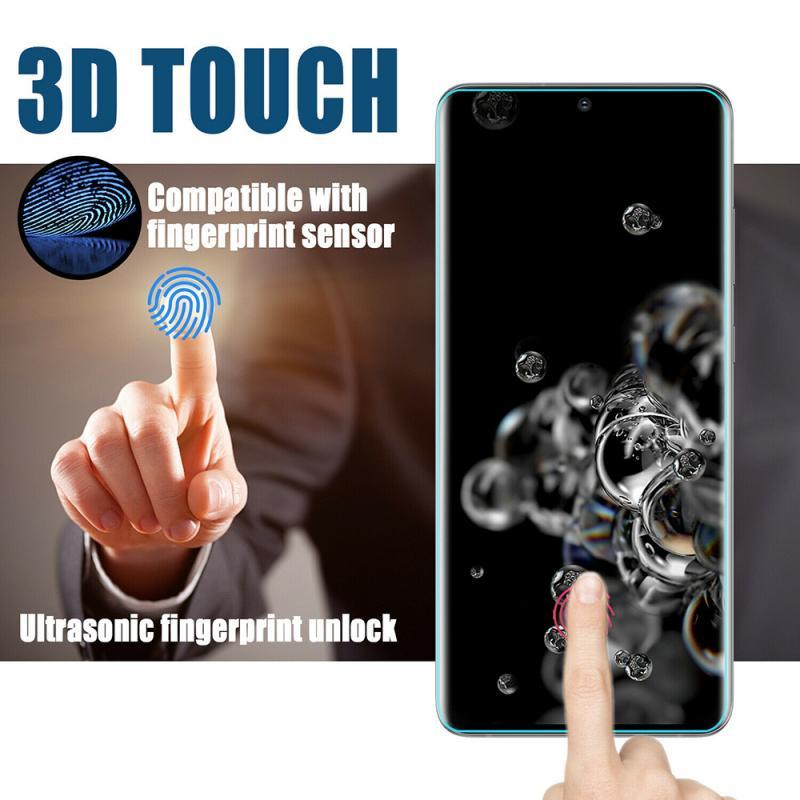 Protector de pantalla para Samsung Galaxy S20 Ultra Plus, cubierta completa 3D curvada UV de 5G, 1 o 2 unidades, cristal templado 9H