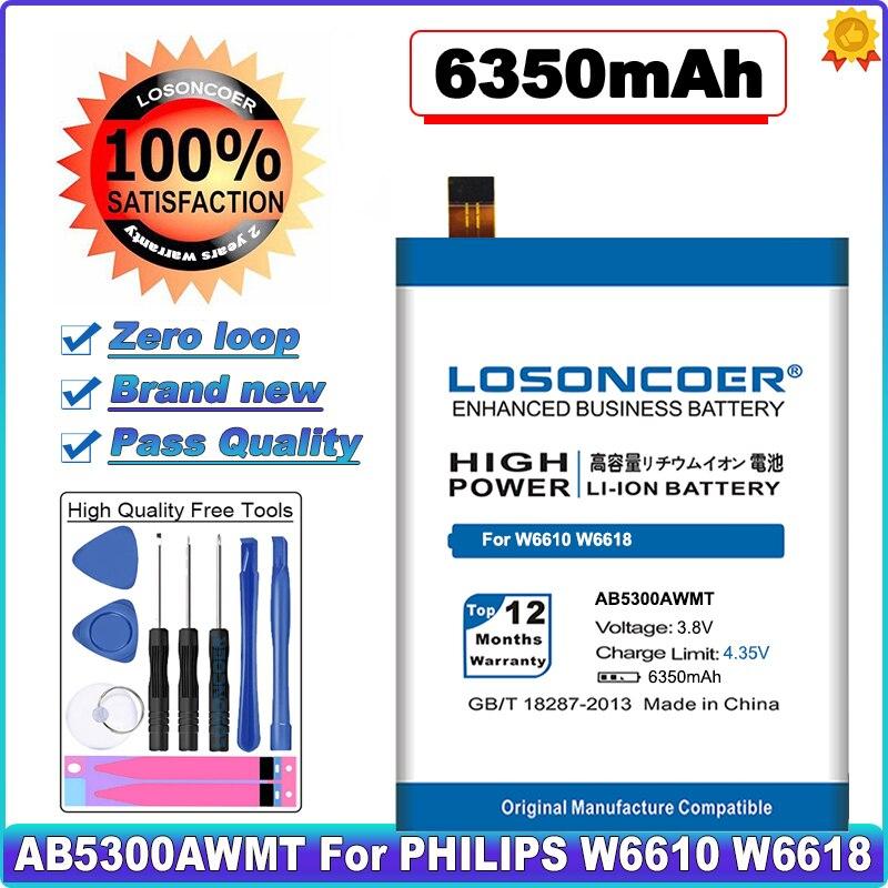 Losoncoer 6350 mah ab5300awmt bateria do telefone celular para philips w6610 w6618 bateria + número de rastreamento