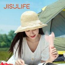JISULIFE Portable Fold Fan PowerBank 4800mAh Charging Usb Fan Mini Fan Ventilador Air Condition with Ultra Bright Led Flashlight