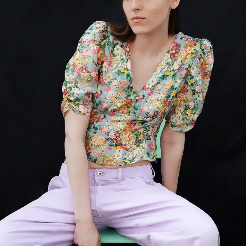 ZA 2020 Blusa con estampado recortado para mujer con cuello en V fruncido de manga corta, camisa Retro de verano con cremallera oculta lateral, parte superior con botón de joya