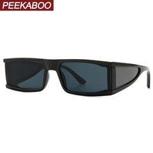 Peekaboo-lunettes de soleil à bouclier latéral, miroir argenté, été noir, léopard, rectangulaires, uv400 2020, pour hommes et femmes