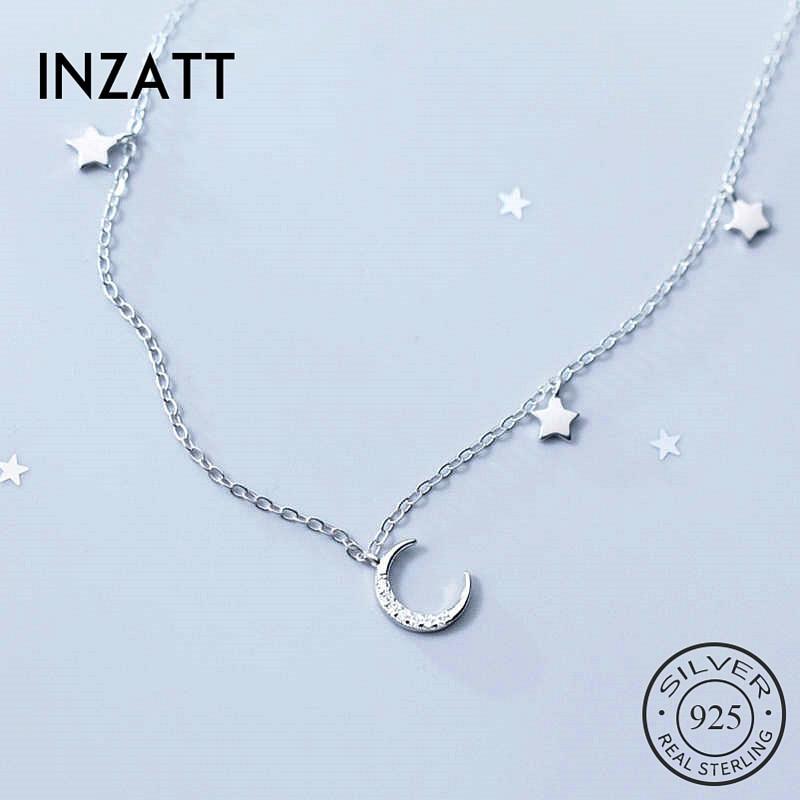 Inzatt real 925 prata esterlina zircon lua pingente gargantilha colar moda feminina minimalista jóias finas bohemia acessórios