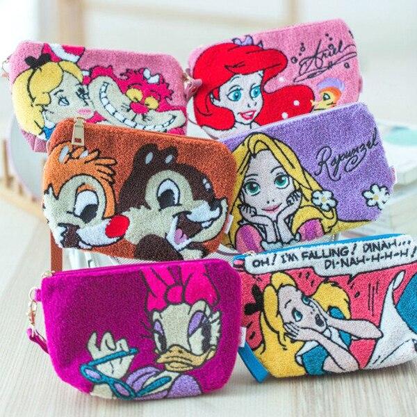 Caricatura de niñas sirena Ariel princesa Rapunzel cuento de hadas princesa Mickey Donald pato maquillaje bolsa de cosméticos almacenamiento neceser