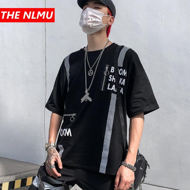Mens Harajuku T-shirts Reflective design Tshirt Streetwear 2020 Spring Men Hip Hop Casual T Shirt Short Sleeve Top Tees WG773