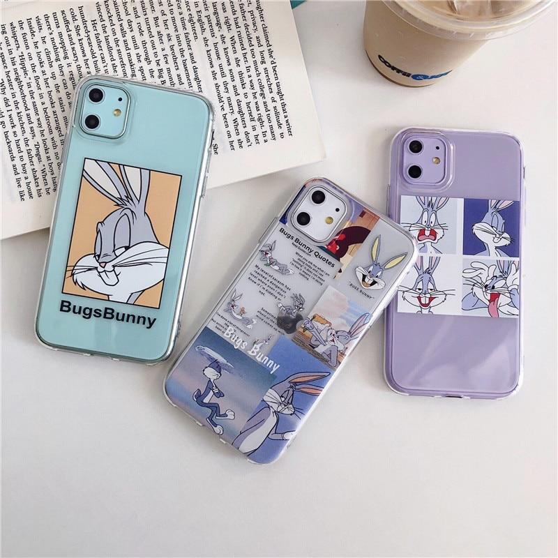Funda transparente de dibujos animados Bugs Bunny para iPhone 11 11Pro Max para iPhone X XR XS Max 7 8 6 6s Plus funda para teléfono funda trasera suave Linda