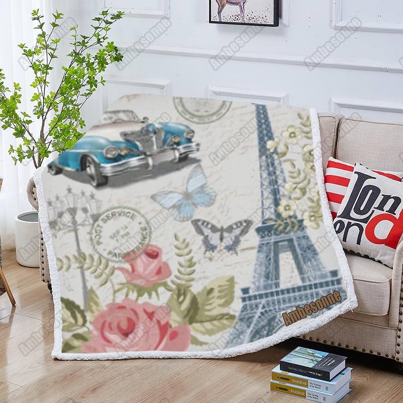 باريس المشهد الصوف بطانية الصيف البطانيات الاطفال الكبار نوم رمي بطانية على السرير بطانية نزهة في الهواء الطلق بطانية مخصصة
