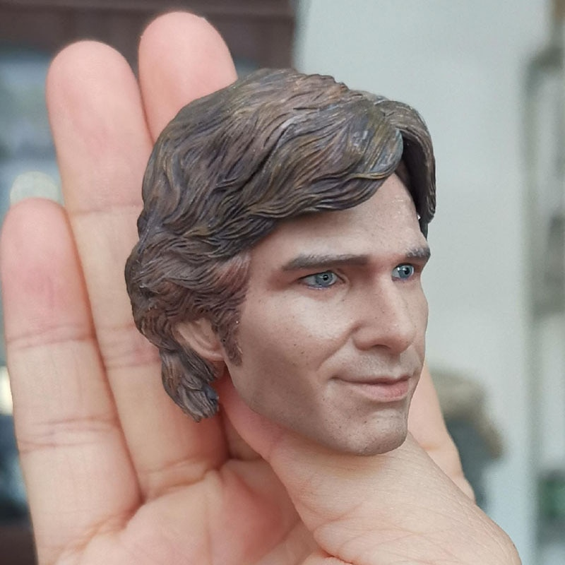 For Collection 1/6 Han Solo Head Carving Smiling Harrison Ford Head Sculpt Fit 12'' Male Action Figure Body Model
