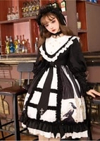 gothic palace college style sweet lolita dress retro lace bowknot stand lattice printing victorian dress kawaii girl gothic
