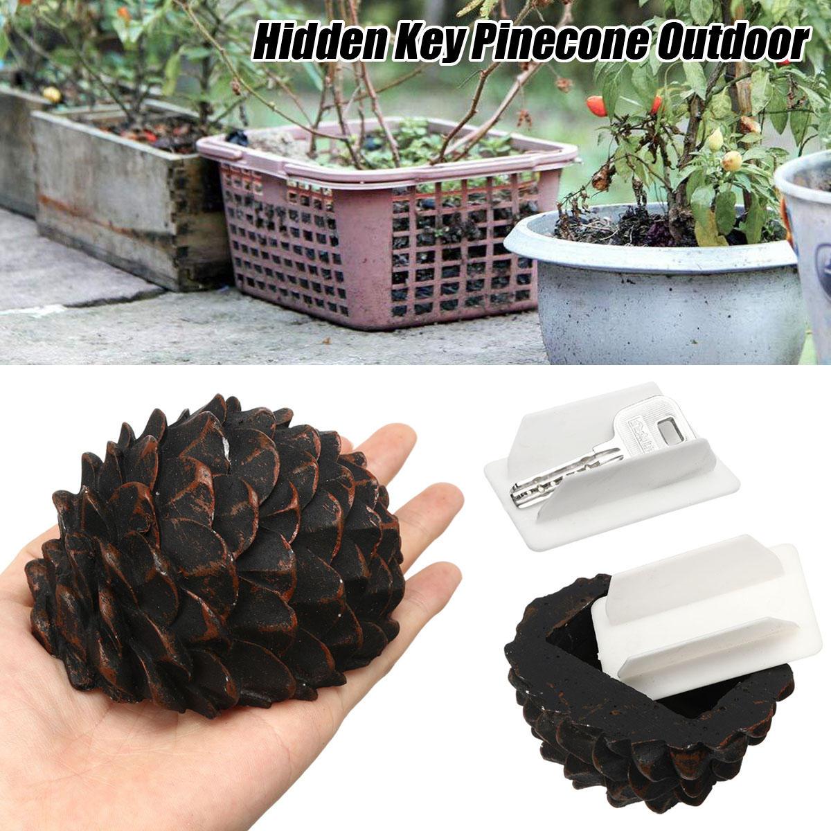 Pinecone Hidden Hide Key Box Holder Secret Stash Safe Outdoor Garden Safe Box недорого