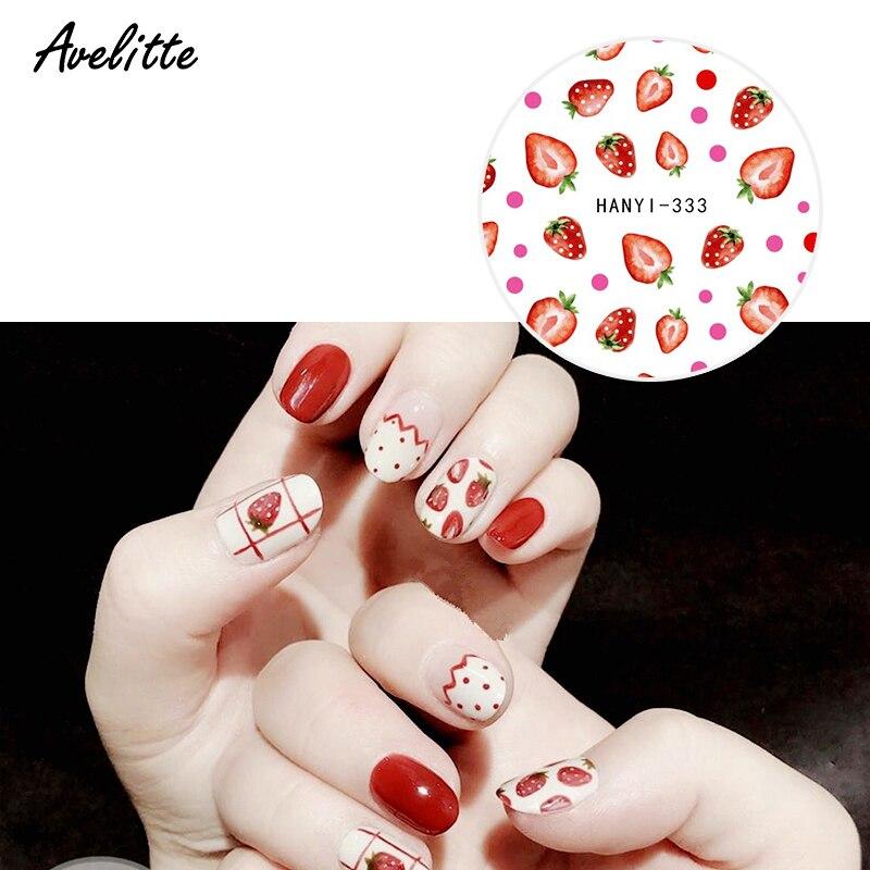 Avelitte nuevo Pastel Soft Net rojo limón fruta aguacate Ultra-Delgado adhesivo uñas DIY