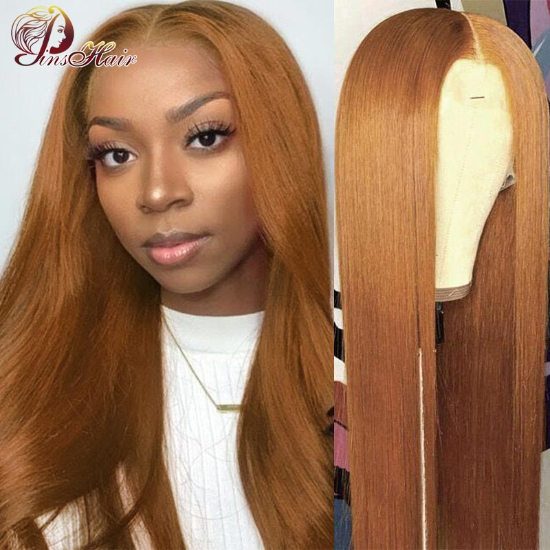 Honey Blonde Lace Front Wig Human Hair Pre-Plucked Brown Straight Lace Front Wig Remy Hair 13x1 Lace Part Peruvian Pinshair 180%