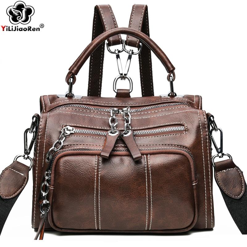 Vintage Small Backpack Women High Quality Leather Backpack Bag New Elegant Shoulder Bag Women Mini Backpacks for Teenage Girls