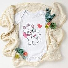New Cool Fashion Infant Bodysuits Marie Cat Print Tshirt Summer Short Sleeve Disney The Aristocats B