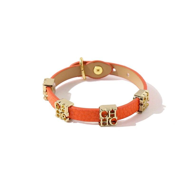 Pulsera y brazalete de abalorios de letras de acero 316L CH de cuero PU de alta calidad estilo Punk a la moda Diseño de serpiente para mujer, joyería al por mayor
