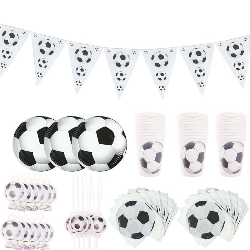Juego de cubiertos de copa de papel para tarta con bandera para niños de fútbol