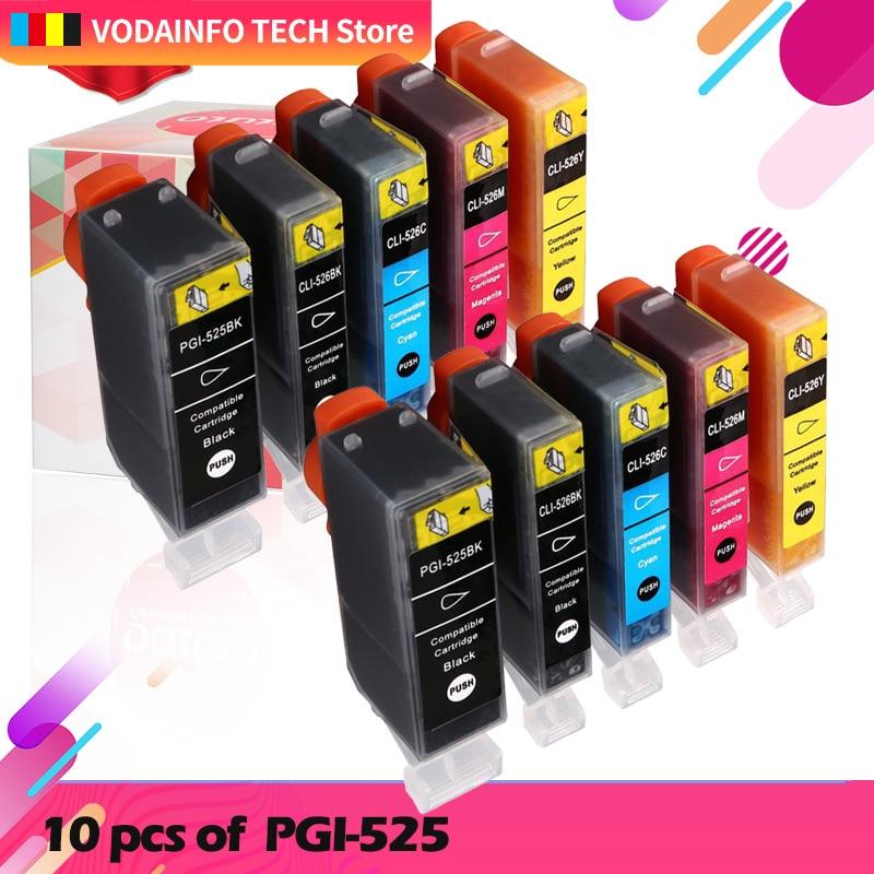10 шт. для Canon PGI 525 CLI 526 чернильный картридж принтера принтерам PIXMA IP4850 IP4950 IX6550 MG5150 MG5250 MG5350 pgi-525 cli-526