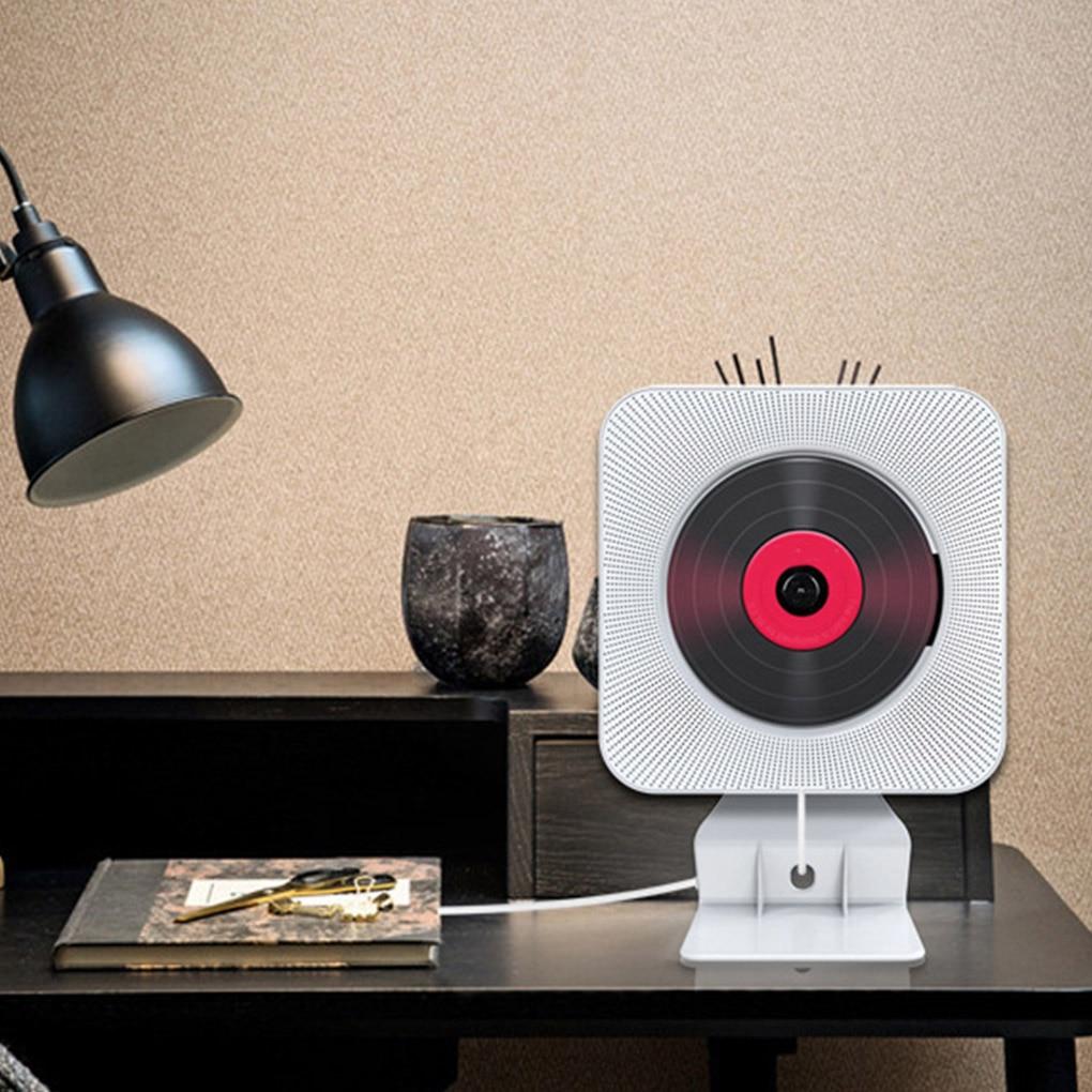 مُشغل CD حائطي, مشغل أقراص مضغوطة مثبت على الحائط بلوتوث محمول بومبوكس صوتي منزلي مع جهاز تحكم عن بعد راديو FM مشغل موسيقى سماعة ستيريو