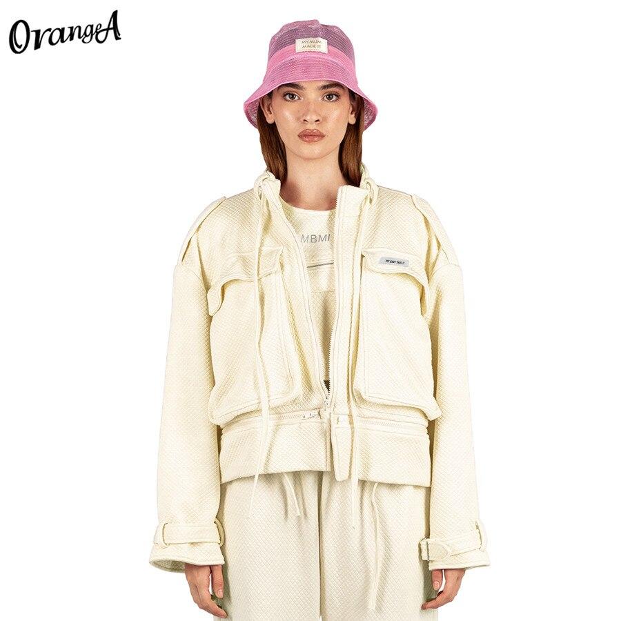 OrangeA-معطف نسائي بسحاب ، جاكيت غير رسمي ، فضفاض ، صلب ، قصير الصدر ، هيب هوب ، ملابس خارجية ، صيف وشتاء