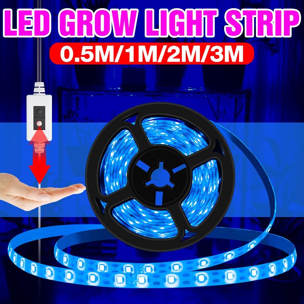 5V USB светодиодный Grow светильник полосы ручная развертка лампа Гроу тенты для полный спектр Fitolampy цветок рассада завод светильник роста Фито ...