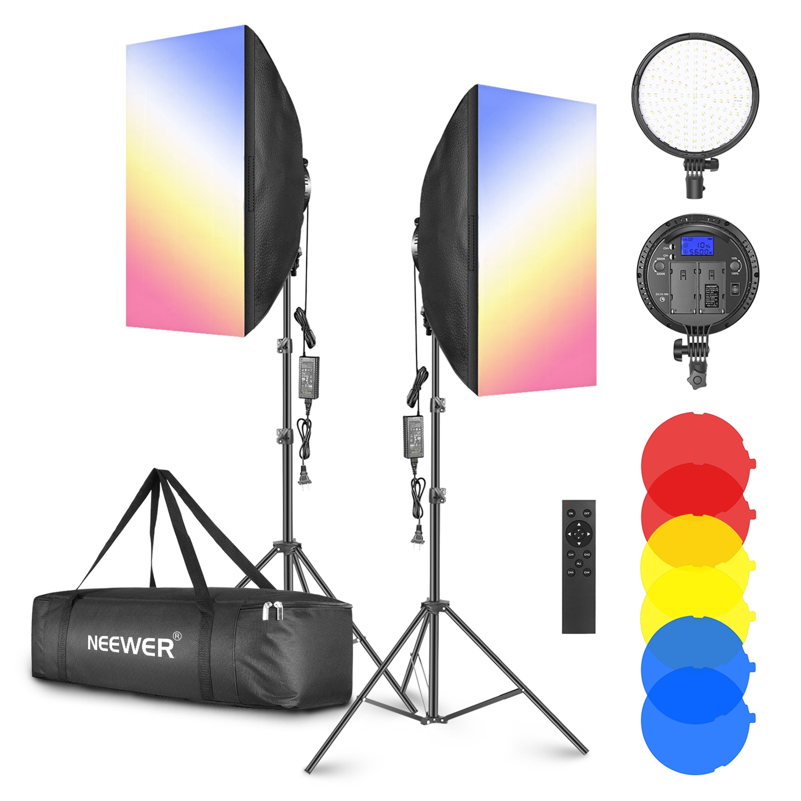 Neewer 2 шт./упаковка светодиодный софтбокс 4 г светильник ing с цветным фильтром: 20x28