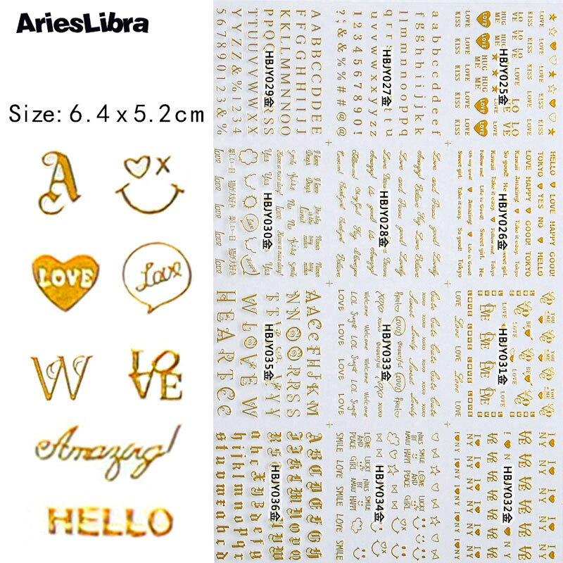 1 folha de ouro 3d arte do prego adesivos alfabeto padrão design unhas acessórios sliders adesivos moda manicure decoração adesivo