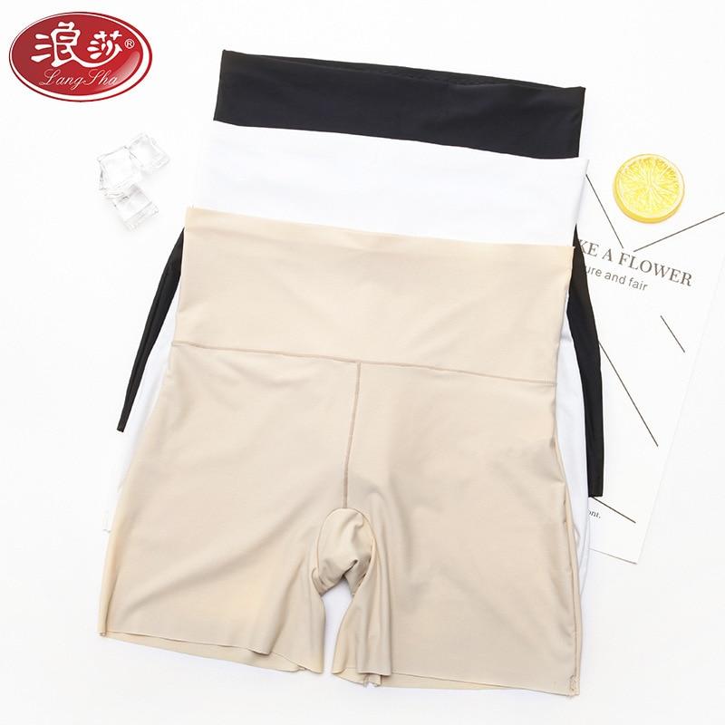 LANGSHA 3PCS/LOT Women High Waist Safety Short Pants Women Briefs Seamless Boyshorts Silk Lady Boyshort Panties Women Boxer