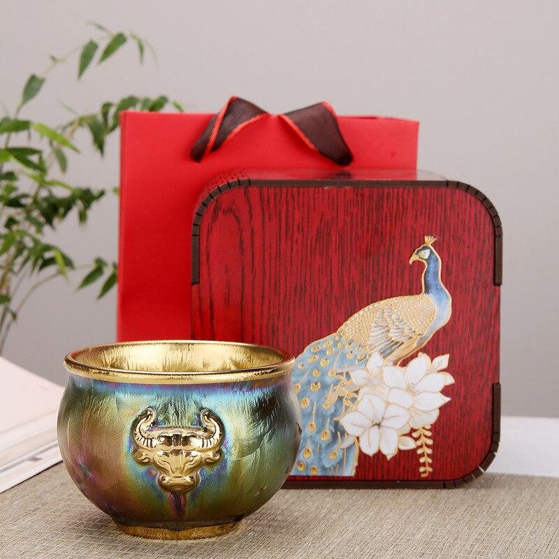 الذهب السيراميك الفضة كأس فنجان شاي كوب واحد Jianzhan الكونغ فو طقم شاي الشاي وعاء ماستر كوب