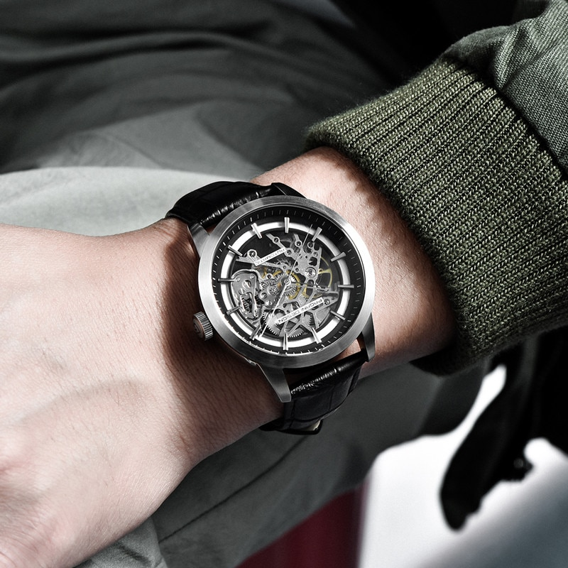 PAGANI DESIGN Luxury Mens Mechanical Watches Leather Skeleton Hollow Clock Fashion Sport Waterproof Automatic Wristwatch For Men enlarge