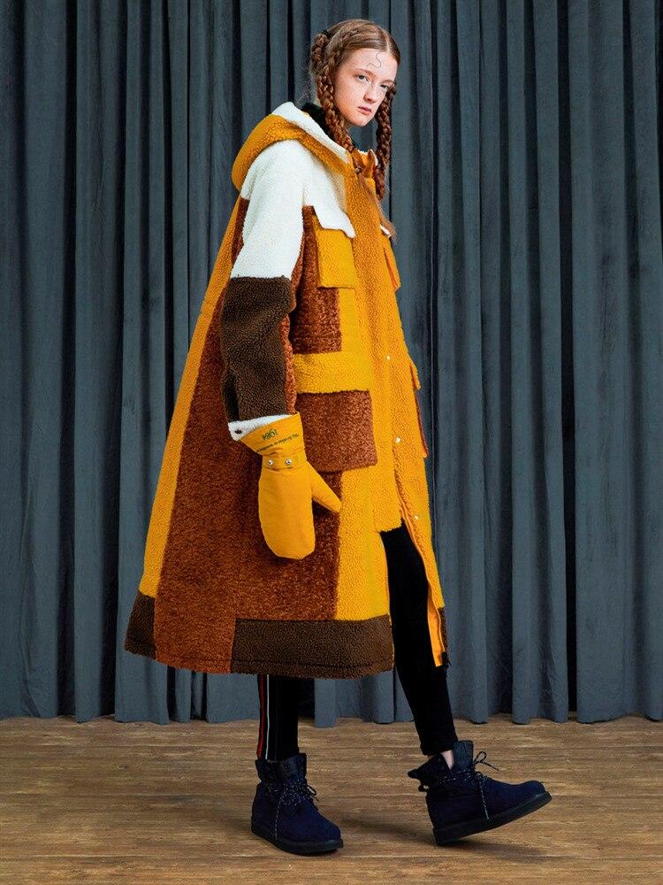 11.11Original Design Women Winter Winter Thick Warm Casual Loose Reversible Berber Fleece Hooded Long Coat Ladies Teddy Jacket