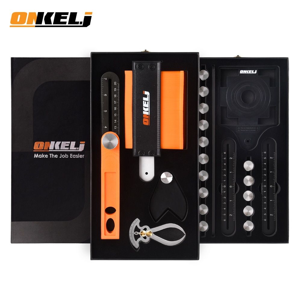 ONKE L.J-مجموعة أدوات متعددة المشاريع ، مقياس كونتور ، الناسخ ، مسطرة قياس الزاوية ، انزلاق 4-6-12 ، T-Bevel Square