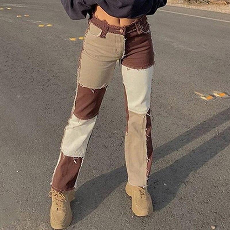 Autumn Brown Women Cowboy Striped Patchwork Jeans Street Casual Hip Hop High Waist Loose Straight Jeans Women's Fashion Pants