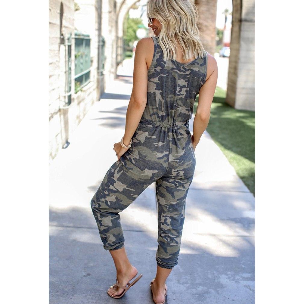 Sin mangas camuflaje chaleco cordón Jumpsuits ejército militar combate camuflaje pantalones largos pantalones calientes Capris Hip Hop Pantalones