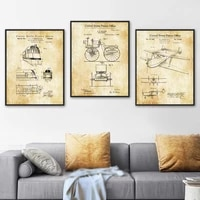 train bicycle aircraft blueprint patent wall art canvas painting nordic posters and prints wall pictures for living room decor